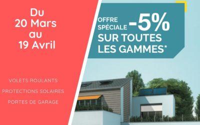 Offre spéciale : -5% sur les volets, protections solaires & portes de garage