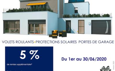 5% de remise sur les volets roulants, protections solaires et portes de garage
