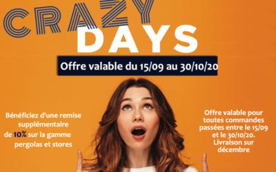 Crazy Days : -10% sur les stores et pergolas